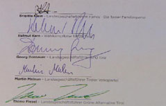 Unterschriften Wahlkampfvereinbarung