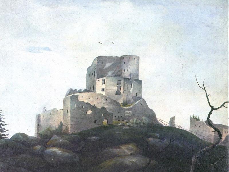 Naturbild, Adalbert Stifter: Ruine der Burg Wittinghausen im Böhmerwald