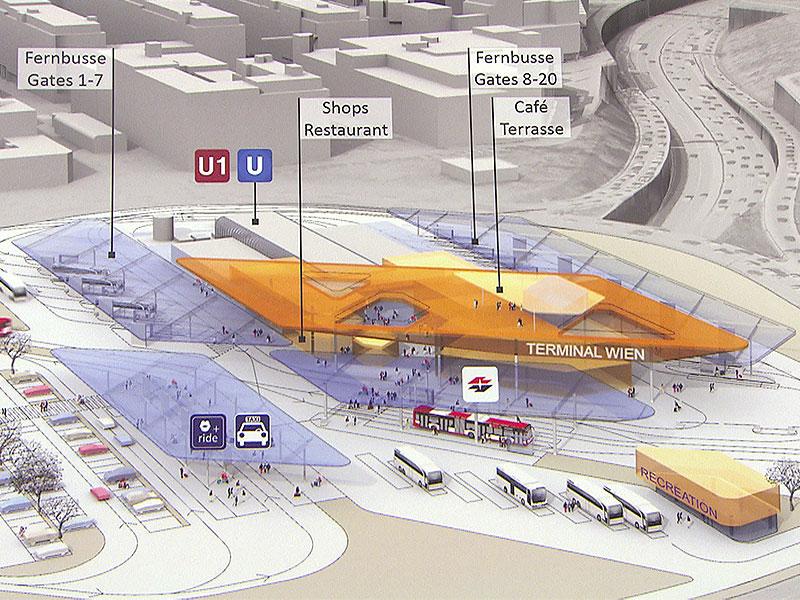 Neuer Fernbusterminal am Verteilerkreis soll Stationen in Erdberg ersetzen