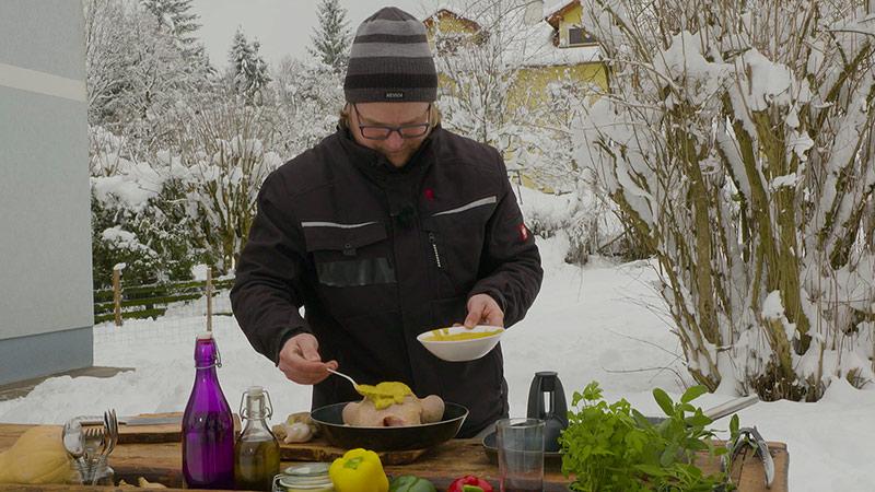 Wintergrillen Bierhendl mit Couscous