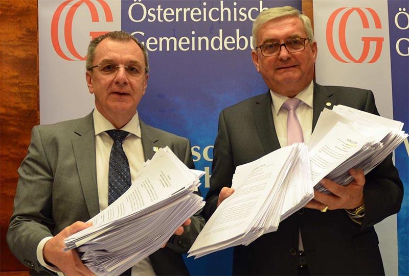 Gemeindebund-Präsident Alfred Riedl mit Vizepräsident Rupert Dworak
