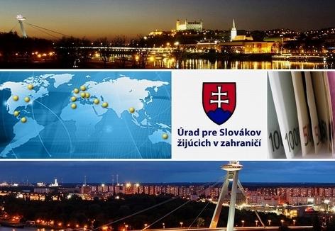 Amt für in Ausland lebende Slowaken (Logo) mit Bildern von Bratislava