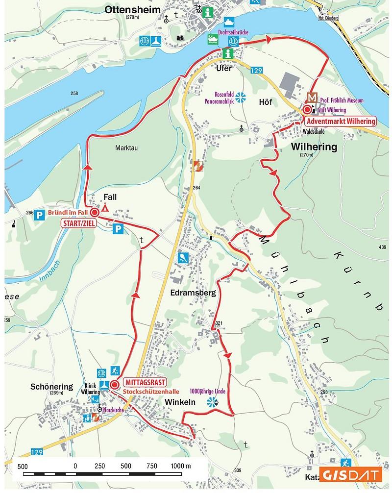 Streckenübersicht Adventwanderung rund um Wilhering