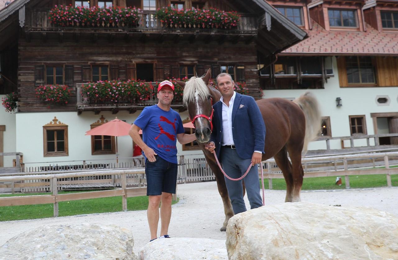 Footballer Lothar Matthäus with a horse and Dieter Ehrengruber