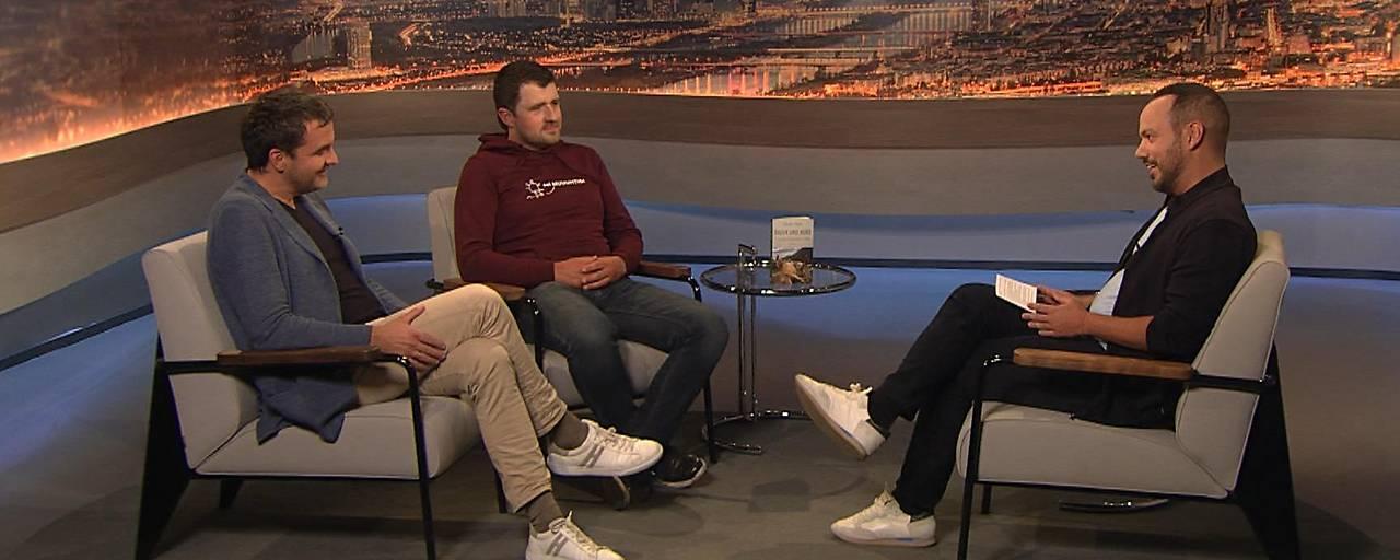 """Florian Klenk und """"Wutbauer"""" Christian Bachler bei Patrick Budgen im Studio"""