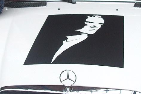 Falco Bild auf der Motorhaube