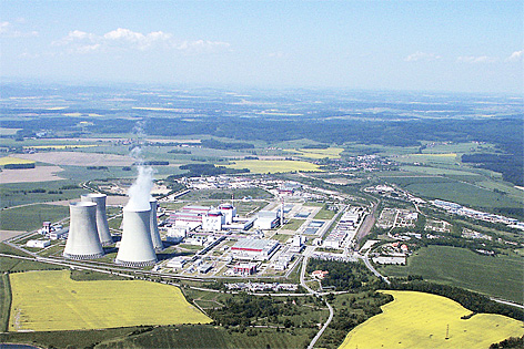 Luftaufnahme des Atomkraftwerk Temelin