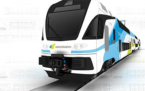 Computer-Grafik über neue Garnitur von WESTbahn