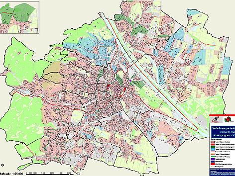 Wien-Karte mit geplanten und vorhandenen Tempo-30-Zonen.