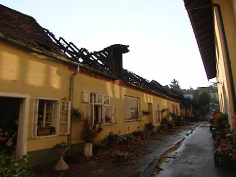Der abgebrannte Dachstuhl