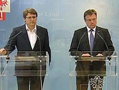 Regierungsklausur Vill, LH Platter und LH-Stv. Gschwentner