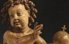 Jesuskind aus der Spätgotik, ursprünglich aus der Pfarrkirche Pfunds im Tiroler Oberland.