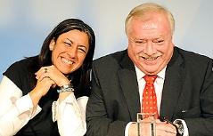 Häupl und Vassilakou anlässlich der Bekanntgabe eines rot-grünen Koalitionspaktes