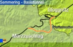 Streckenverlauf Semmering Basistunnel
