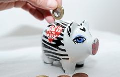 Münzen werden in ein Sparschwein gesteckt