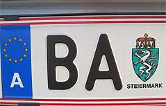 Autokennzeichen BA