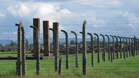 Zäune, Bauruinen und Kamine ehemaliger Holzbaracken im KZ Auschwitz-Birkenau