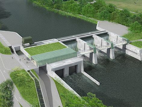 Entwurf des Murkraftwerks in Graz-Puntigam