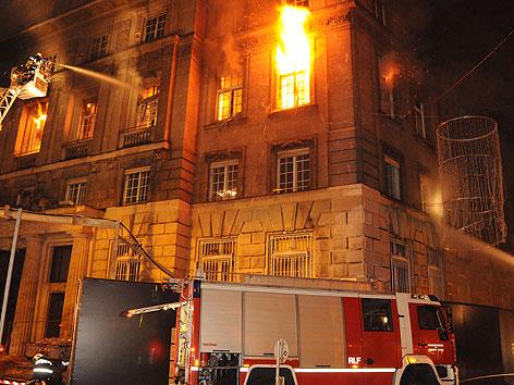 Brand bei der früheren Bank Austria Zentrale Am Hof