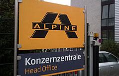 Schilder Alpine-Konzernzentrale in Wals-Siezenheim