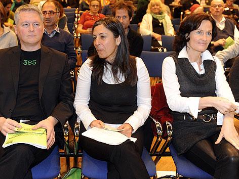 David Ellensohn, Maria Vassilakou und Eva Glawischnigg bei der Landesversammlung der Wiener Grünen