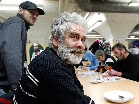 Obdachloser in der Gruft