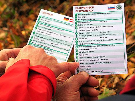 """""""Sprachkarten"""" der Bergrettung"""