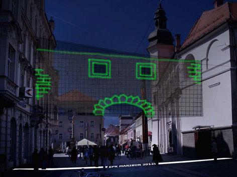 Lichtinstallation in einer Straße in Maribor