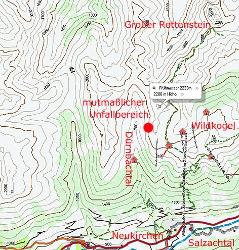 Übersichtskarte Lawine Neukirchen Rettenstein Dürnbachtal
