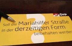 Befragungszettel Mariahilfer Straße