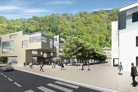 """Visualisierung des Wohnprojekts """"Citylife"""" am Rehrlplatz in der Stadt Salzburg am Kapuzinerberg"""