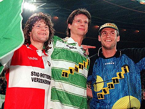 Andreas Heraf, Peter Schöttel, Michael Konsel im April 1996 im Ernst Happel-Stadion nach dem Spiel Rapid gegen Feyenoord Rotterdam
