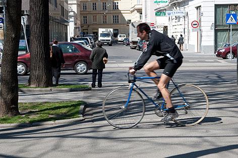 Radfahrer in der Innenstadt