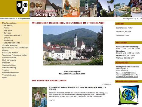 Screenshot der Scheibbser Gemeindehomepage