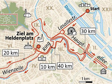 Strecke des Vienna City Marathon 2012