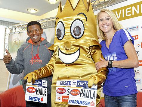 Haile Gebrselassie und Paula Radcliffe bei Pressekonferenz vor dem Vienna City Marathon 2012