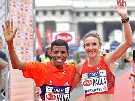 Haile Gebrselassie und Paula Radcliffe gewannen beim Vienna City Marathon 2012 die Halbmarathon-Bewerbe