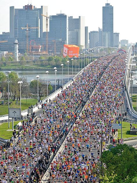 Teilnehmer am Vienna City Marathon 2011 auf der Reichsbrücke