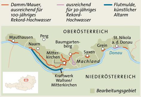 Karte des Machlanddamms