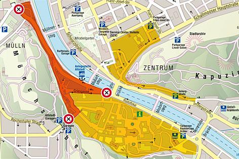 Plan der Innenstadt-Sperre im Sommer in Salzburg. Rot ist die geplante Sperrzone, gelb die bestehende Fußgängerzone