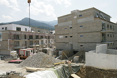Baustelle einer Wohnsiedlung des gemeinnützigen Bauträgers Salzburg Wohnbau