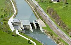 Computer-Visualisierung des Salzach-Kraftwerks Gries im Pinzgau