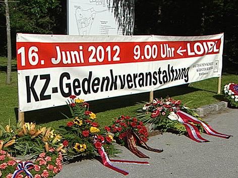 Transparent Gedenkveranstaltung Loiblpass KZ Loibl Nord