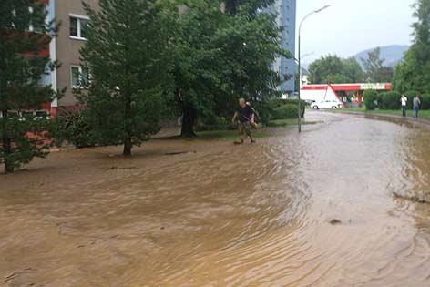 Überschwemmte Siedlung im Bezirk Bruck an der Mur