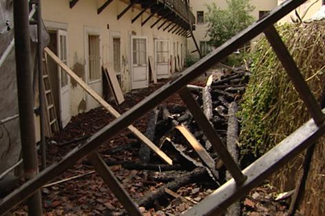 Abgebranntes Haus in Baden