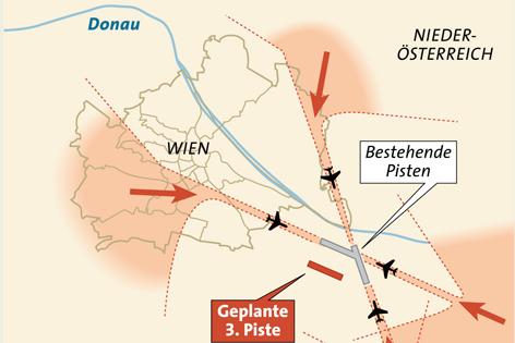 Grafik Einflugschneisen am Flughafen Schwechat