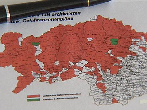 Steiermarklandkarte, Obersteiermark ist rot eingefärbt, da Gefahrenzone Wildbach