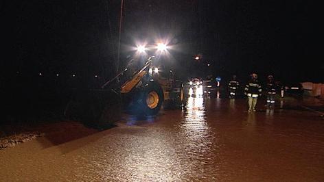 Überflutete Straßen im Bezirk Oberpullendorf
