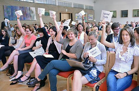Jugendliche protestieren in Alpbach