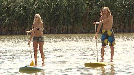 Stand Up Paddling auf dem Neusiedler See